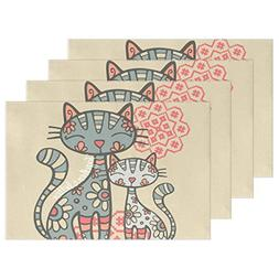 Cat Kitty Washable Placemats Table Mats by AIDEESS, Woven Vi