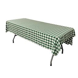 LA Linen Checkered Tablecloth, 60 by 102-Inch, Hunter Green