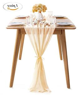 SoarDream 1 Piece Chiffon Table Runner 27x120 Inches Ivory C
