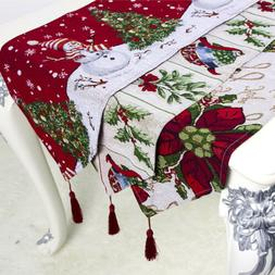 Christmas Dining Table Runner Flag Polyester Cotton Tableclo
