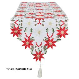 Christmas Embroidered <font><b>Table</b></font> <font><b>Run