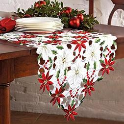 OurWarm Christmas Embroidered Table Runners Poinsettia Holly