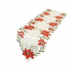 """Christmas Holiday Embroidered Poinsettia Table Runner 15"""""""