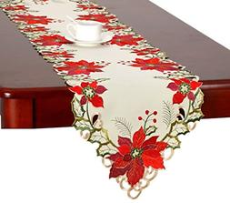 Christmas Holiday Embroidered Poinsettia Table Runner 16x54