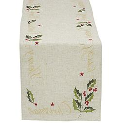 "DII Christmas Holiday Embroidered Table Runner, 14X70"", Holl"