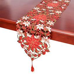 Simhomsen Christmas Holiday Poinsettia Lace Table Runners, D
