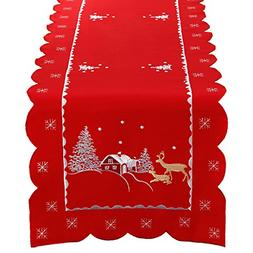 Simhomsen Christmas Holiday Table Runner Embroidered redeer