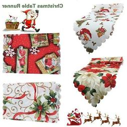 Christmas Table Runner Cover Floral Santa Xmas Party Home Ki