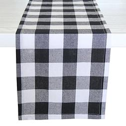 ARKSU Christmas Table Runner Plaid Polyester-Cotton Blend fo