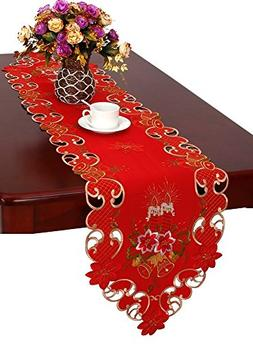 Grelucgo Christmas Table Runner And Scarf Embroidered Bells