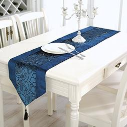 Aothpher 13x70 inch Classic Damask Table Runner Navy Blue wi
