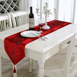 Aothpher 13x70 inch Classic Damask Table Runner Red with Tas
