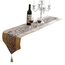 Aothpher 13x70 inch Classic Apricot Damask Table Runner Beig