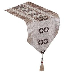 Yoovi Classic Flocking Table Runner with Tassels Table Decor