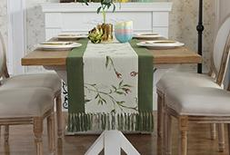 JYQ Classic Floral Leaf Green Table Cloth Runners with Tasse