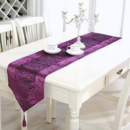 Aothpher 13x70 inch Classic Violet Damask Table Runner Purpl
