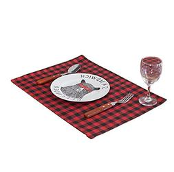 Aothpher Set of 4 Classic Washable Buffalo Place Mats Geomet