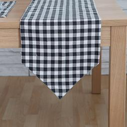 Aothpher Classic Washable Geometric Linen Black & White Chec