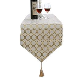 Aothpher 13x83 Inch Classic Washable Gold Table Runner with