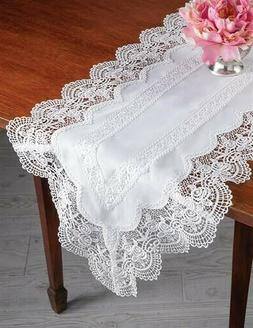 "Victorian Trading Co Sweetbriar 16""x72"" Lace Table Linen Run"
