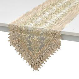 Coffee 100% Polyester Doily Boutique Table Runner with Lace