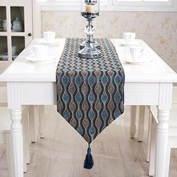 Coffee blue ripple pattern embroidered table runner for wedd