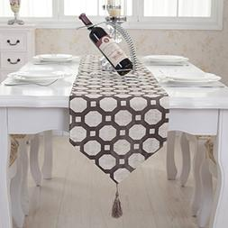 Coffee dot checkered tassel table runner party wedding decor