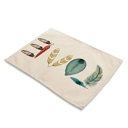 Colorful Feather Placemats - MeMoreCool Cotton Linen Beautif