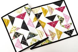 Colorful Floral Quilted Patchwork Table Runner in Spring Fab