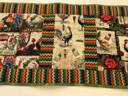 Colorful Handmade Quilted Table Runner Roosters, Hens, Feath