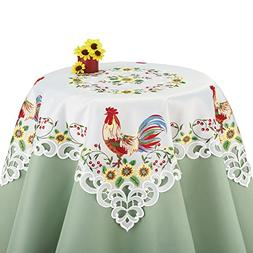 Colorful Rooster & Sunflowers Lacy Embroidered Table Linens,
