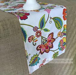 colorful table runner rustic floral leaf home