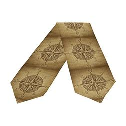 Naanle Compass Rose Long Table Runner 13x70 Inch, Vintage Po