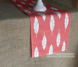 Coral Feather Table Runner Table Centerpiece Dining Kitchen