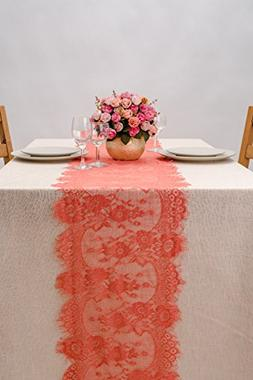 Crisky 14x120 Inch Coral Lace Table Runnerswith Rose Vintage