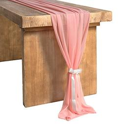 ling's moment Coral Sheer Table Runner 32 x 120 inches for R