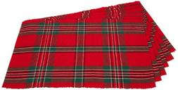 Holiday Plaid 100% Cotton Ribbed Placemats for Holiday, Fami