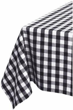 "DII 60x84"" Rectangular Cotton Tablecloth, Black & White Chec"
