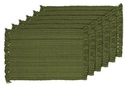 DII Tonal Fringe Placemat, Set of 6, Variegated Olive Green