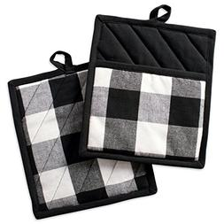 DII Buffalo Check Plaid Pot Holders with Pocket, , Black & W