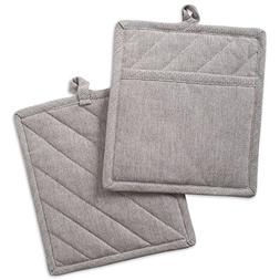 """DII Cotton Chambray Pot Holders with Pocket, 9x8"""" Set of 2,"""