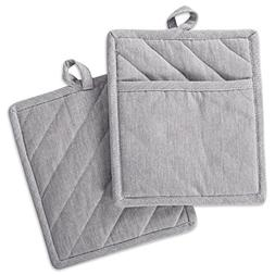 DII Cotton Chambray Pot Holders with Pocket, 9x8 Set of 2, M