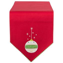 DII 100% Cotton Christmas Holiday Embroidered Table Runner,