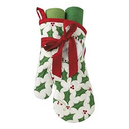 DII Cotton Christmas Holiday Oven Mitt and Dish Towels Gift