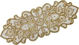 COTTON CRAFT - Beaded Table Runner - Medallion - Ivory Gold