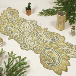 COTTON CRAFT - Beaded Table Runner - Paisley- 16x54 Inches -
