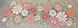 COTTON  CRAFT FLOWERS BEADED TABLE RUNNER, BRAND NEW , LOOK!
