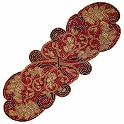 COTTON CRAFT Mesa Scarlett Handmade Beaded Leaves Table Runn