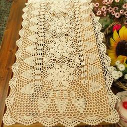 Cotton Crochet Lace Table Runner Rectangle Doilies For Dinne