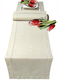Table Runners 90inch Cotton Linen Fabric with Hemstitched De